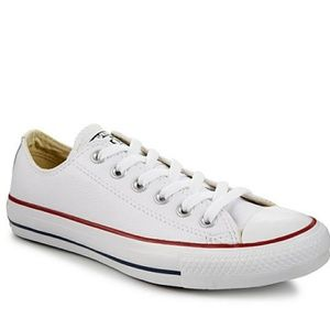 Leather white converse!!